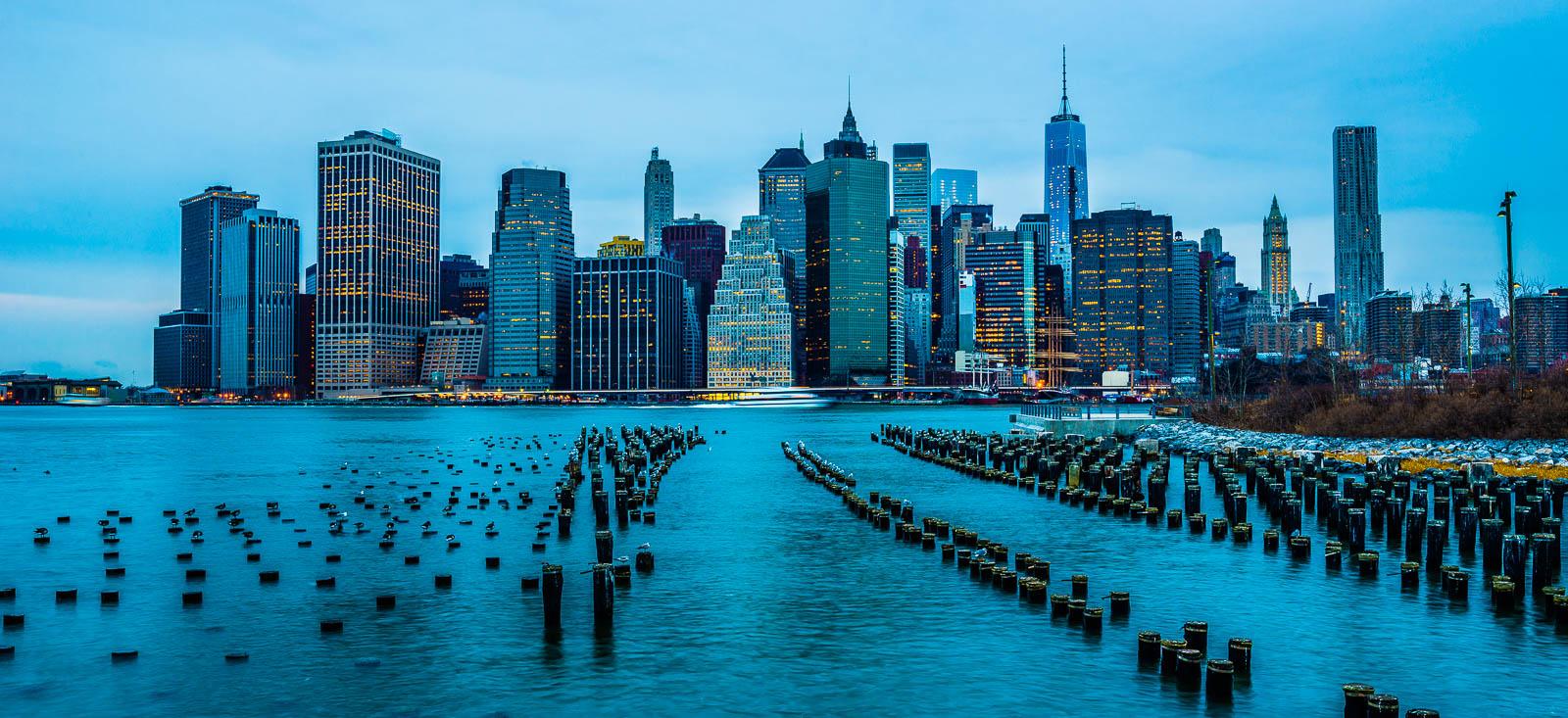 New York Manhattan Skyline Dawn Brooklyn
