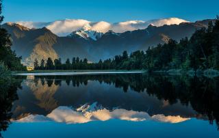 Lake Matheson sunset reflection Mt Tasman