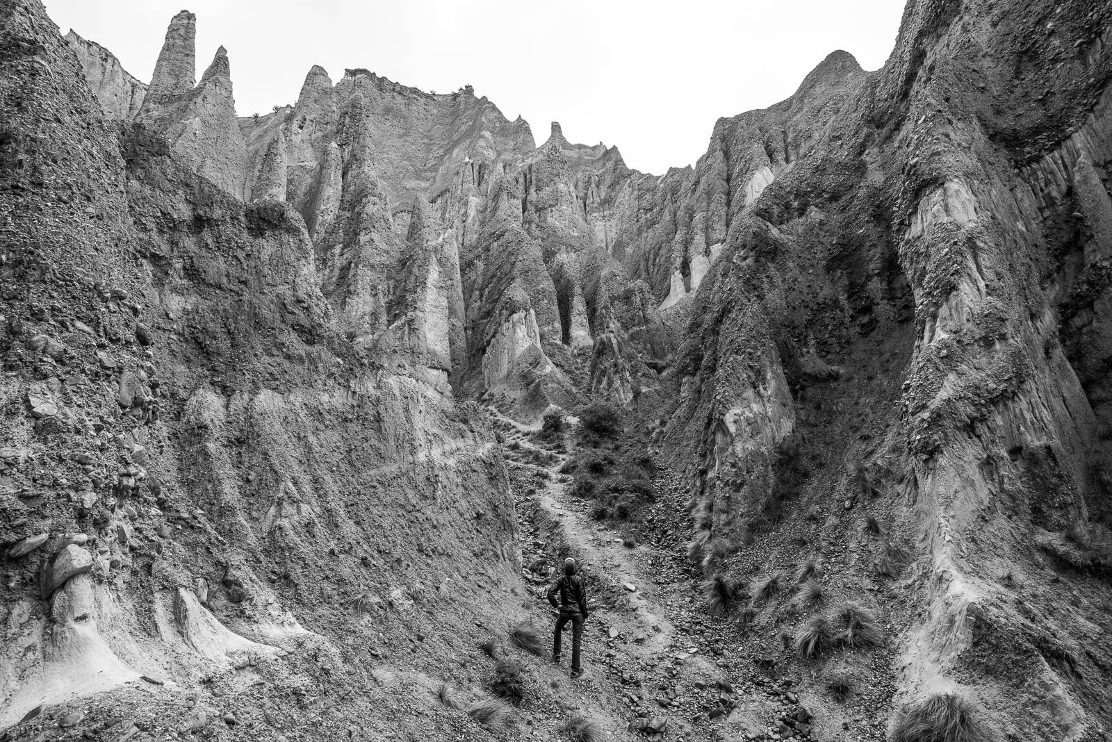 Omarama Clay Cliffs black and white